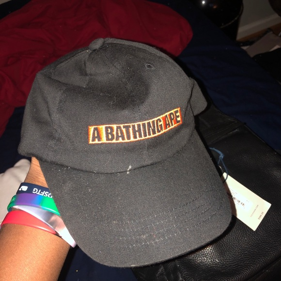 2800a9df0491 Bathing Ape dad hat orange box logo